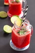 pic of refreshing  - Delicious and refreshing watermelon and lime drink with mint leaves - JPG