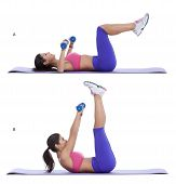 picture of bend over  - Lie on your back with your arms over your chest and knees bend at a 90 - JPG