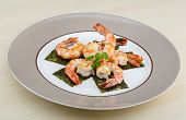 stock photo of tiger prawn  - Roasted Tiger shrimps cocktail with herbs and spices - JPG