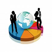 pic of pie chart  - businessman and businesswoman standing on a 3d pie chart - JPG