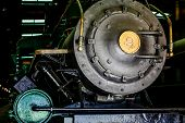 pic of locomotive  - Classic old steam locomotive with number nine on front - JPG