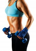 picture of abs  - Ideal sportive torso of young woman with bronzed skin and strong abs muscles isolated - JPG