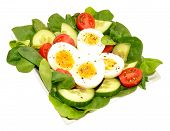 pic of cucumber  - Fresh egg and tomato salad with cucumber and lettuce isolated on a white background - JPG