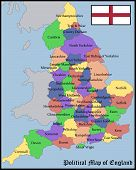 picture of political map  - Illustration of a Political Map of England - JPG