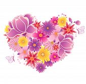foto of violet  - Decorative vector heart of pink and violet flowers - JPG