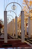picture of light-pole  - Modern light poles against a blue sky - JPG