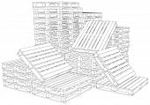 picture of pallet  - Pile of pallets on isolated white background - JPG