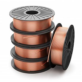 stock photo of coil  - Heap of coils with shiny metal copper electrical power wire cables isolated on white background - JPG