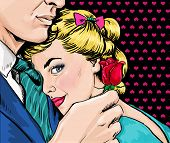 Pop Art couple. Love couple. Pop Art love. Valentines day postcard. Hollywood movie scene. Real love poster