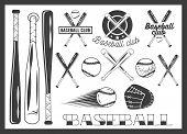Vector set of baseball club emblem, label, badges, logo and design elements. Sport icons in vintage poster