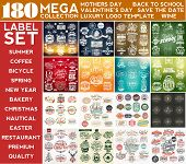 Mega Collection Label Set, Mothers Day, Summer, Valentines Day, Coffee, Nautical, Back To School, S poster