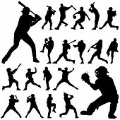 stock photo of baseball bat  - set of baseball player silhouette illustration design - JPG