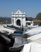 pic of tomas  - famous church of santo thomas chichicastenango guatemala central america outdoor native market covered with tarps - JPG