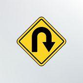 Постер, плакат: Hairpin Curve Warning Icon