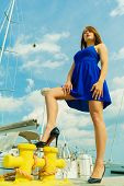 Dominant Feminist Woman Wearing High Heels In Marina poster