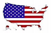 image of usa map  - USA map with American flag texture on white background - JPG
