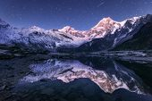 Himalayn Mountains And Mountain Lake At Starry Night In Nepal poster