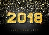 2018 Happy New Year. Gold Numbers Design Of Greeting Card. Gold Shining Pattern. Happy New Year Bann poster