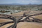 stock photo of superstition mountains  - Aerial view of the Loop 202 Red Mountain and the Route 60 Superstition Freeway Interchange in east Mesa - JPG
