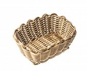 Empty rustic wicker basket isolated on white poster