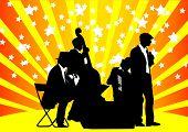 Постер, плакат: Рисование оркестр Музыка на цвет фона