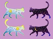 A Set Of Four Cats, Two Cat-day And Two Cat-night. Cat Silhouette Painted With Day Sky, With Clouds, poster