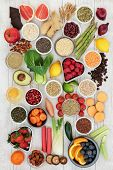 Diet super food  ingredients with herbs used as appetite suppressants, fruit, vegetables, nuts, seed poster