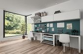 Workstations in furnished clean bright room with wooden floor. 3d rendering poster