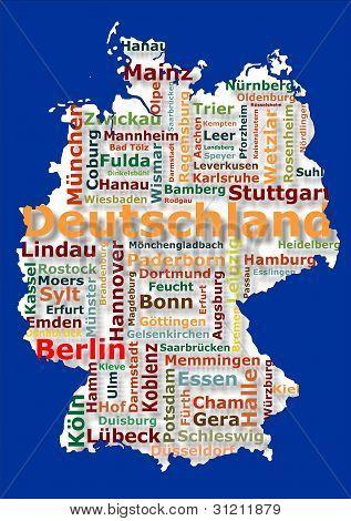 Постер, плакат: Германия и города, холст на подрамнике