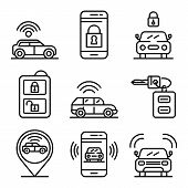 Car Alarm System Icons Set. Outline Set Of Car Alarm System Vector Icons For Web Design Isolated On  poster