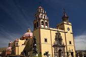 stock photo of senora  - Basilica of our Lady of Guanajuato La Basilica de nuestra Senora de Guanajuato Steeples Blue Skies and Mexico - JPG