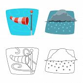 Vector Design Of Weather And Climate Sign. Collection Of Weather And Cloud Vector Icon For Stock. poster