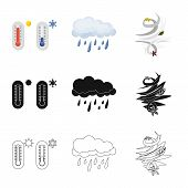 Vector Illustration Of Weather And Climate Symbol. Set Of Weather And Cloud Stock Vector Illustratio poster