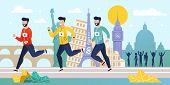 World Marathon. Running Competition. Flat Cartoon Athlete Sprinter Sportsmen Team Run On Street. Men poster