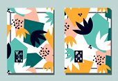 Trendy Cover With Graphic Abstract Shapes And Floral Leaves. Two Modern Vector Flyers In Avant-garde poster