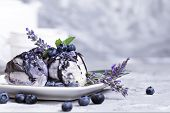 Vanila And Blueberry Ice Cream With Lavender On Blue Background. Fresh Vitamin Nutrition. Natural Ve poster