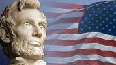 stock photo of abraham lincoln memorial  - Abraham Lincoln the sixteenth President of the United States with the current flag of USA - JPG