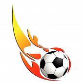Постер, плакат: Футбольный мяч на огонь