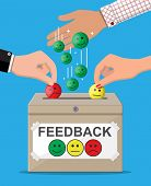 Rating Box. Reviews Smiles Faces. Testimonials, Rating, Feedback, Survey, Quality And Review. Vector poster