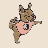 French Bulldog Doing Yoga. Illustration With French Bulldog poster
