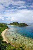 View Of Drawaqa Island Coastline And Nanuya Balavu Island, Yasawa Islands, Fiji. This Archipelago Co poster