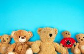 Many Teddy Bears On A Blue Background, Friendship Concept, Copy Space, Friendship Concept poster