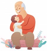 Cartoon Illustration Of Grandfather Holding His Grandchild. poster