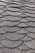 Roofing, Made Of Shingles. Texture Of Shingles. Vertical Photo Of Soft Shingles Tiles. Texture Of Th poster