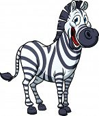 Cute cartoon zebra. Vector illustration with simple gradients. All in a single layer for easy editin