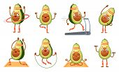 Cartoon Avocado Character Fitness. Funny Avocados In Yoga Poses, Gym Cardio And Vegetarian Sport Foo poster