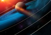 Celestial Art, Saturn Planet  In Outer Space Showing The Beauty Of Space Exploration. Textures Furni poster