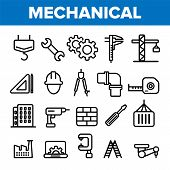 Engineering Line Icon Set . Technician Design. Machinery Engineering Icons. Industrial Factory Produ poster