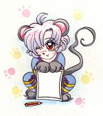 Watercolor Anime Girl Mouse, Symbol Of The New Year 2020 poster