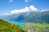 Turquoise Lake Brienz In Interlaken, Switzerland From Above From Harder Kulm. Amazing Swiss Landscap poster